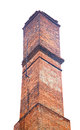 Old brick industrial chimney isolated on white Royalty Free Stock Photo