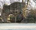 Old Brick Monastary Ruin in Snow Royalty Free Stock Photography