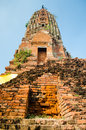 Old brick pagoda thailand blue sky Royalty Free Stock Photography