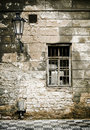 Old brick ruin wall in prague. Royalty Free Stock Images