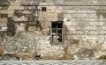 Old brick ruin wall in prague. Stock Photo