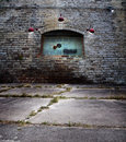Old brick wall with glass block window Royalty Free Stock Photo