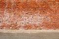 Old Brick Wall and Road Street Royalty Free Stock Photo