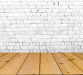 Old brick wall on wood floor interior with Stock Photos