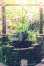 Old brick water well with bucket hanging on timber in the garden. Royalty Free Stock Photo