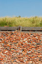 Old bricks a beach made up from a lot of abandoned in crosby liverpool Royalty Free Stock Image