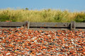 Old bricks a beach made up from a lot of abandoned in crosby liverpool Royalty Free Stock Images