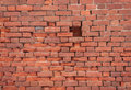 Old brickwork with the mark on each brick Royalty Free Stock Image