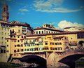 Old Bridge called Ponte Vecchio in Florence Italy with vintage e Royalty Free Stock Photo