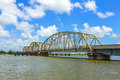 Old bridge in east area of new driving on chef menteur highway with orleans crossing the bay Royalty Free Stock Photos