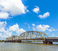 Old bridge in east area of new driving on chef menteur highway with orleans crossing the bay Royalty Free Stock Image