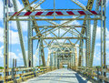 Old bridge in east area of new driving on chef menteur highway with orleans crossing the bay Royalty Free Stock Images
