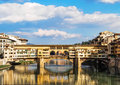 The old bridge famous in florence which is reflected in river arno in florence gives life to a striking image Royalty Free Stock Image