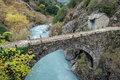 Old bridge in greece traditional stone epirus Stock Photography