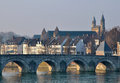 Old bridge in maastricht holland Stock Photos