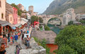 Old bridge mostar bosnia and herzegovina august street market with the in background unesco world heritage site Stock Image