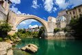 Old Bridge in Mostar with emerald river Neretva. Bosnia and Herzegovina. Royalty Free Stock Photo