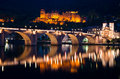Old bridge and ruined castle in Heidelberg Royalty Free Stock Photo