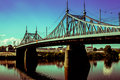 Old Bridge in Tver city, Russia. Volga River Royalty Free Stock Photo