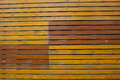 Old bright yellow wooden plank wall background Royalty Free Stock Photo
