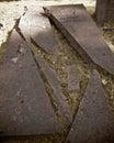 Old  broken grave slab Royalty Free Stock Photo