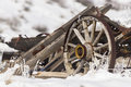 Old Broken Wagon With Wheel In...