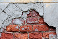 Old broken wall with visible bricks texture Royalty Free Stock Photo