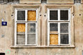 Old broken windows in abandoned house Royalty Free Stock Image