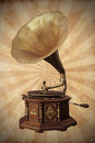 Old bronze gramophone Stock Photos