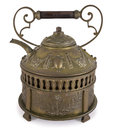 Old bronze teapot including path Royalty Free Stock Photo