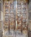 Old brown door with squares