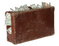 Old brown suitcase with banknotes Royalty Free Stock Image