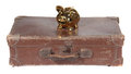 Old brown suitcase with golden piggy bank Royalty Free Stock Photography
