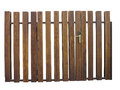 Old brown wooden gate with lock isolated over white background Stock Photos