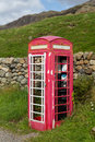 Old BT phone box in Lake District being renovated Royalty Free Stock Photography