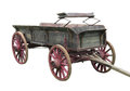 Old buckboard wagon isolated and worn wooden horse drawn on white Stock Photography