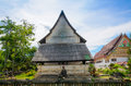 Old buddhist church in thai temple Royalty Free Stock Images
