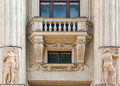 Old building exterior with balcony and columns in Budapest, Hungary. Royalty Free Stock Photo