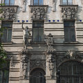 Old building in jugendstyle art nouveau in riga latvia – june beautiful alberta street Royalty Free Stock Photography