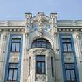 Old building in jugendstyle art nouveau in riga latvia – june beautiful on elizabetes street Royalty Free Stock Image