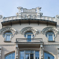 Old building in jugendstyle art nouveau in riga latvia – june beautiful strelnieku street Stock Images