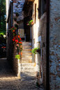 Old building with light spot and picturesque in a medieval mountain village of istria croatia a warm of evening sun Stock Image