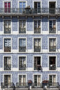 Old building tiles windows Lisbon Royalty Free Stock Photo