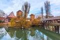 Old buildings and bridge reflected in water. Nuremberg, Bavaria Royalty Free Stock Photo