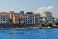 Old buildings in corfu town view on with from the sea Royalty Free Stock Photo