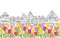 Old buildings and houses in Amsterdam  with flower tulips alley. Royalty Free Stock Photo