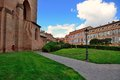 Old buildings next to cathedrale saint etienne toulouse small public garden and france Royalty Free Stock Photography