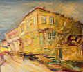 Old bulgarian house in golden colors an oil painting on canvas of a colorful painted the end of the autumn Stock Photos