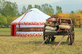 Old bullock cart with the tent of nomad on a background the ten s kazakh s Stock Photos