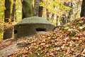 Old bunker part of polish coast fortification station for the heavy machine gun Stock Images